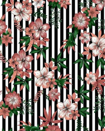 BRUSHD DTY W/PTD STRIPE & TROPICAL FLOWER DESIGN