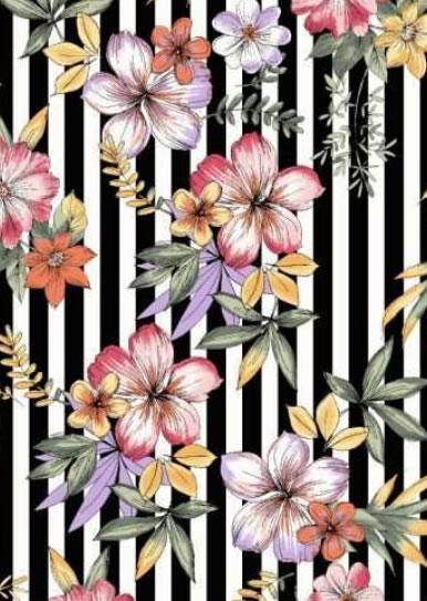 BRUSHD DTY W/PTD STRIPE & TROPICAL FLOWER DESIGN