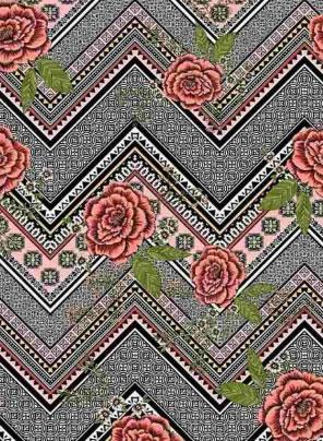 BRUSHED DTY W/GEO-CHEVRON & ROSE DESIGN