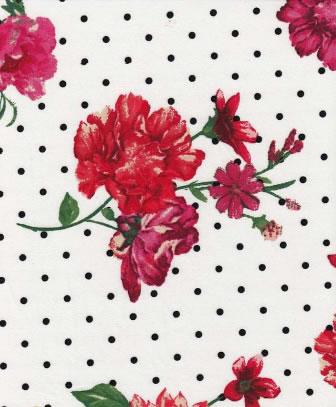BRUSHED DTY W/MINI POLKA-DOT & WILD FLOWER DESIGN