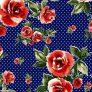 BRUSHED DTY W/POLKA-DOT & BIG ROSE FLOWER DESIGN