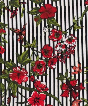 BRUSHED DTY W/PRINTD STRIPE & ORCHID FLOWER DESIGN