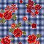 BRUSHED DTY W/PTD GINGHAM & CABBAGE FLOWER DESIGN