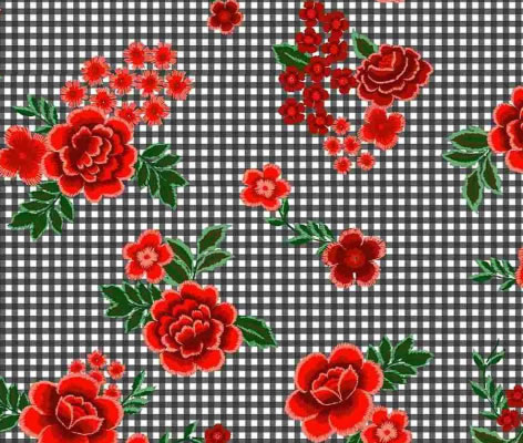 BRUSHED DTY W/PTD GINGHAM & CABBAGE FLOWER DESIGN