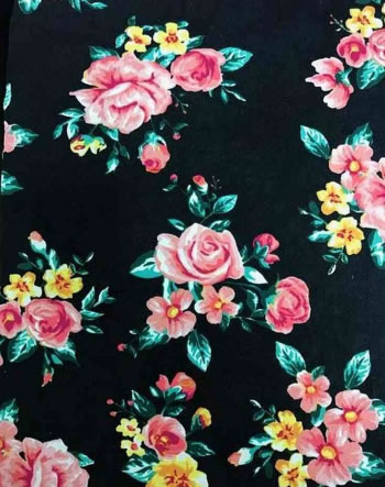 BRUSHED DTY W/ROMANTIC ROSE FLOWER DESIGN