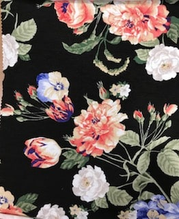 Rayon Spandex Jersey Fabric Floral Print - Black Background 3