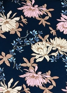 Rayon Spandex Jersey Fabric Floral Print - Blue Background 3