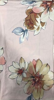 Rayon Spandex Jersey Fabric Floral Print - Ivory Background 4