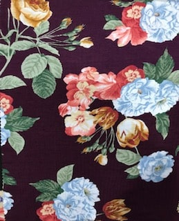 Rayon Spandex Jersey Fabric Floral Print - Purple Background 2