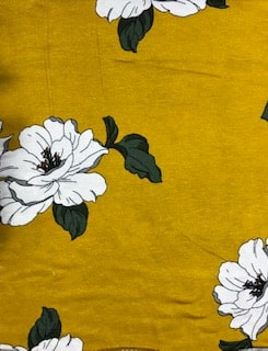 Rayon Spandex Jersey Fabric Floral Print - Yellow Background 2